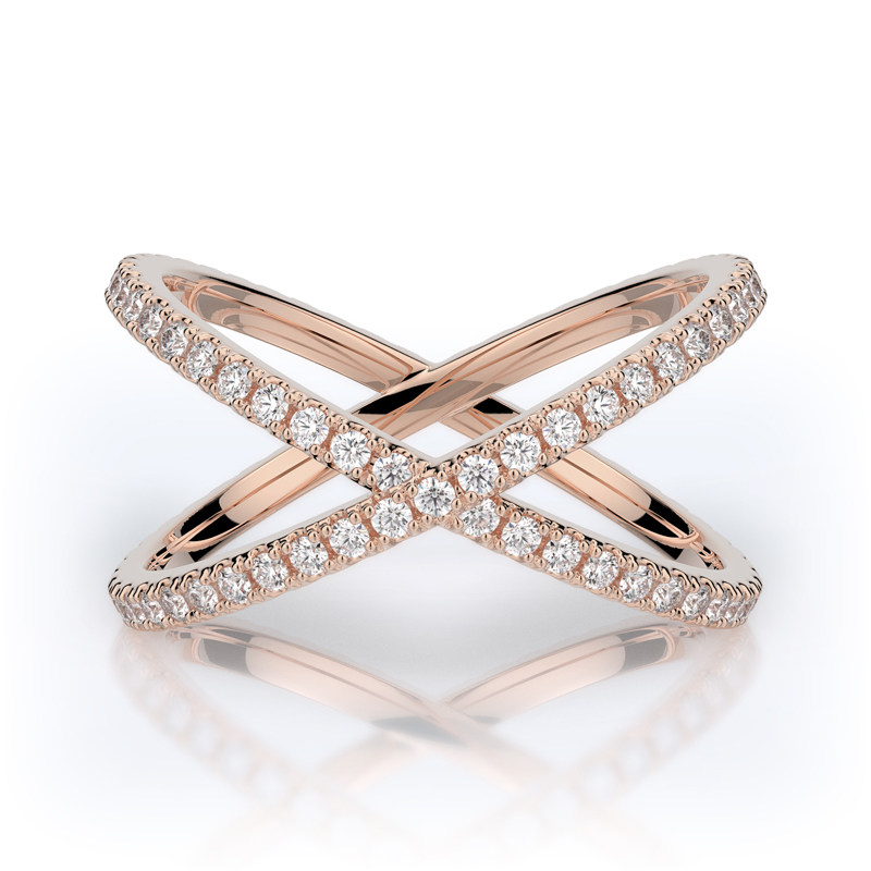 Henry Daussi 14 Karat Rose Gold Diamond Crossover Eternity Band