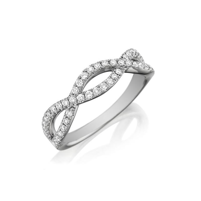 Henry Daussi 18 Karat White Gold Crossover Diamond Wedding Band