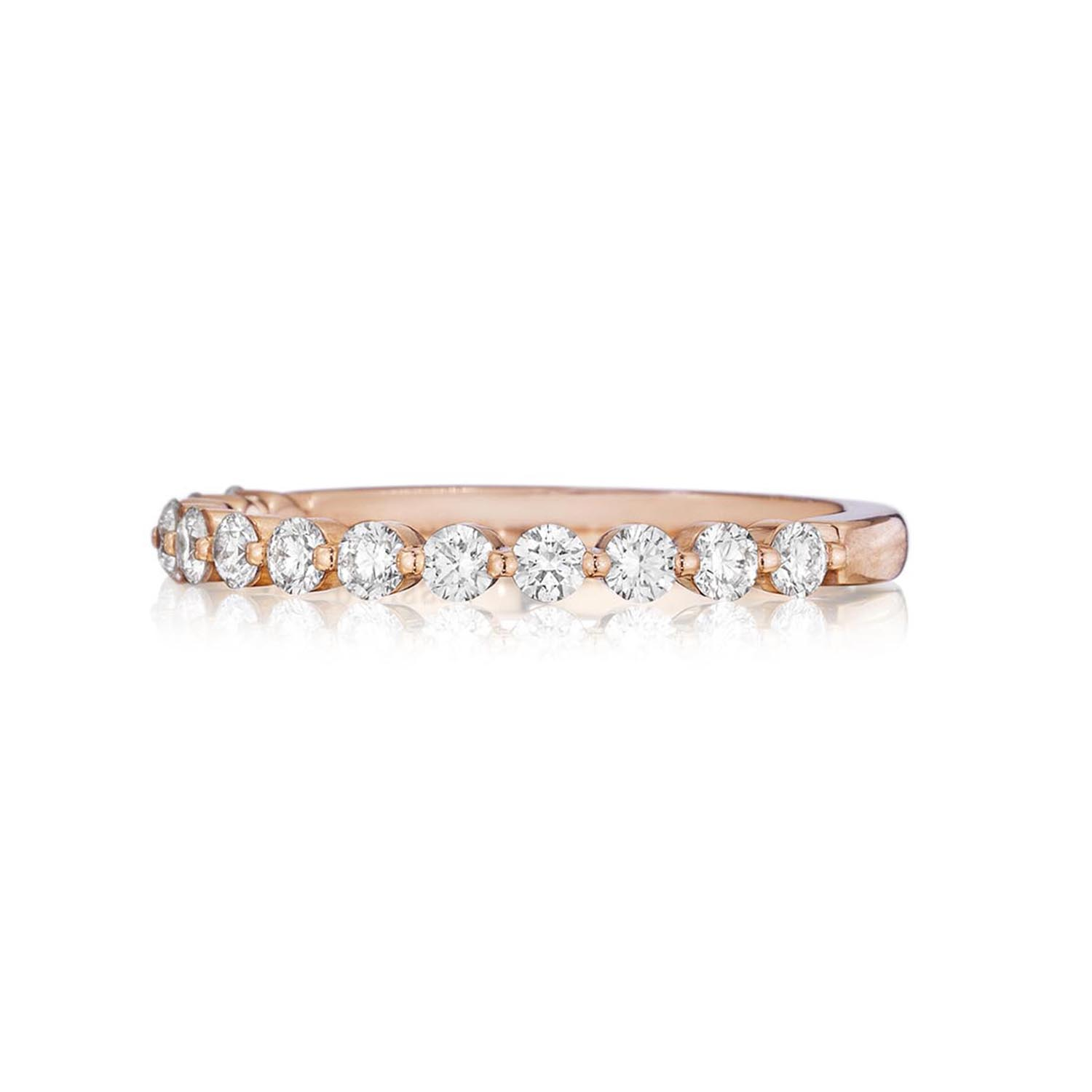 Henri Daussi 18 Karat Rose Gold Diamond Wedding Band