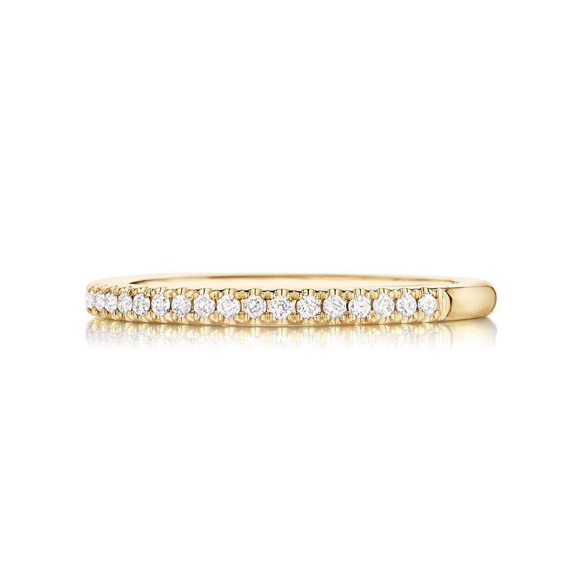 Henri Daussi 18 Karat Yellow Gold Pave Diamond Wedding Band