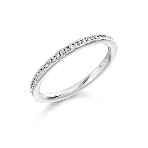 14 Karat white gold and diamond band 0.15 ct.