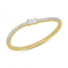 14 Karat Yellow Gold Baguette and Single Cut Diamond Band