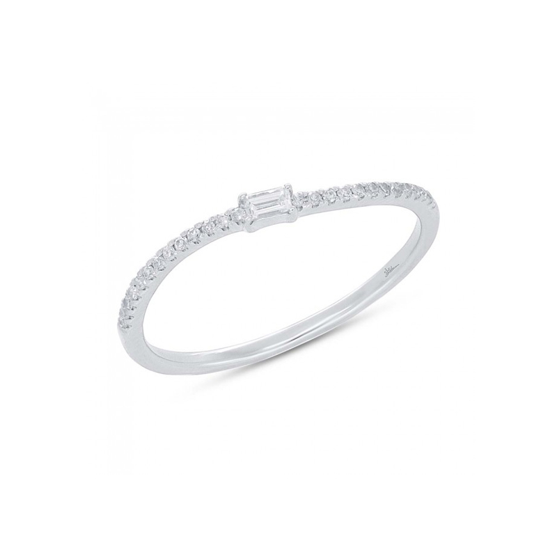 14 Karat white gold and diamond band.