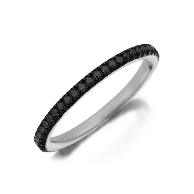Henry Daussi 18 Karat White Gold Round Natural Black Diamond Band