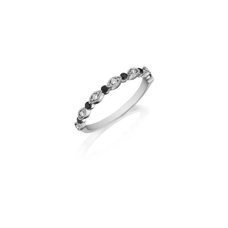 Henry Daussi 18 Karat White Gold Black and White Diamond Band