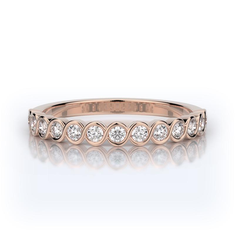 Henry Daussi 14 Karat Rose Gold Diamond Wedding Band