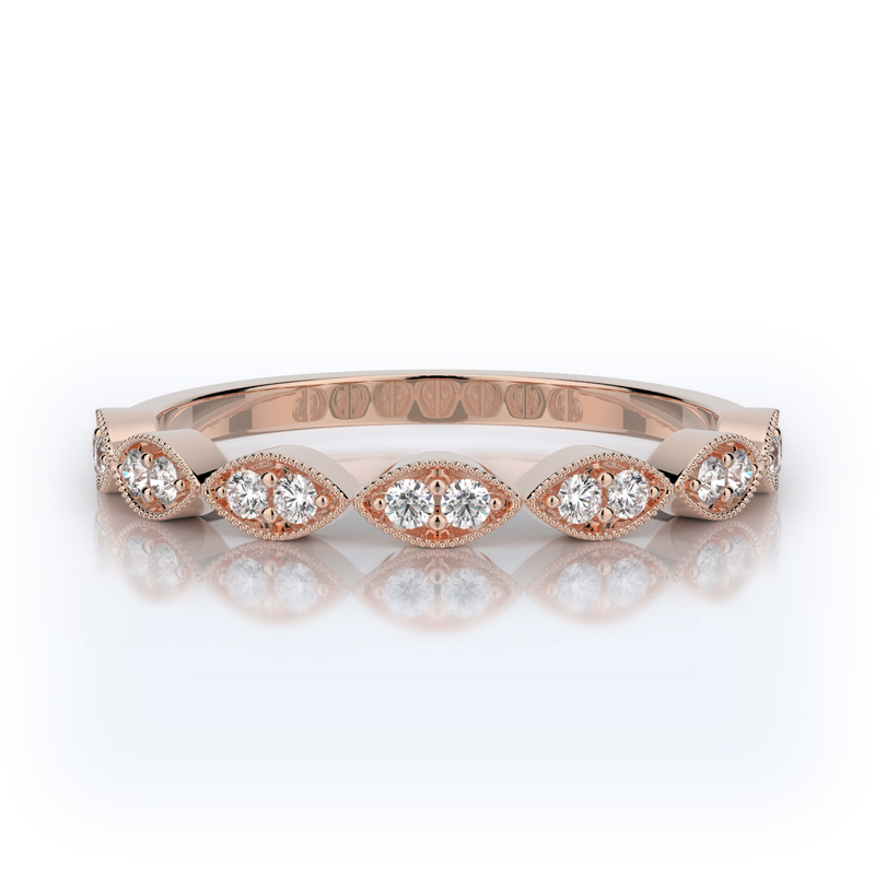 Henry Daussi 14 Karat Rose Gold Diamond Wedding Band