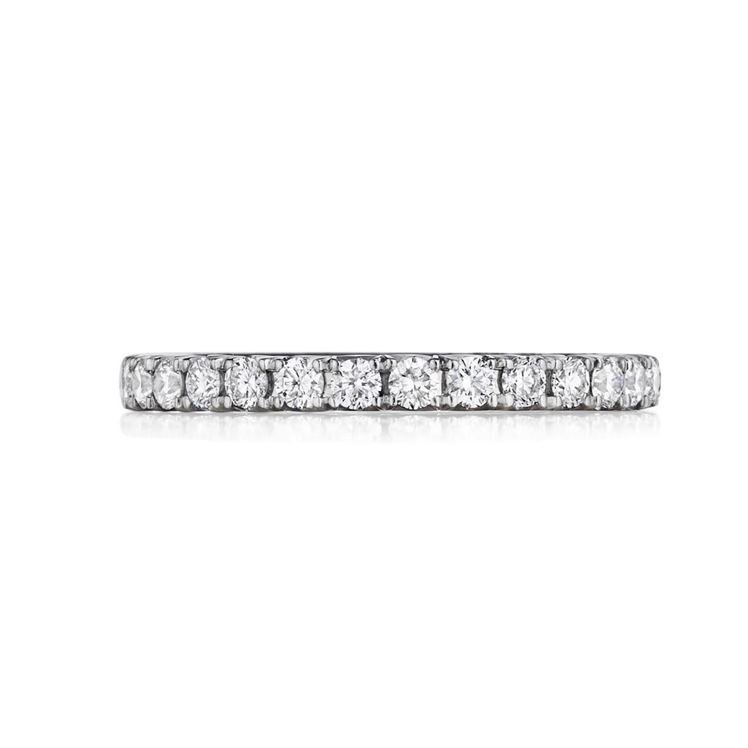 Henri Daussi 14 Karat White Gold Diamond Band