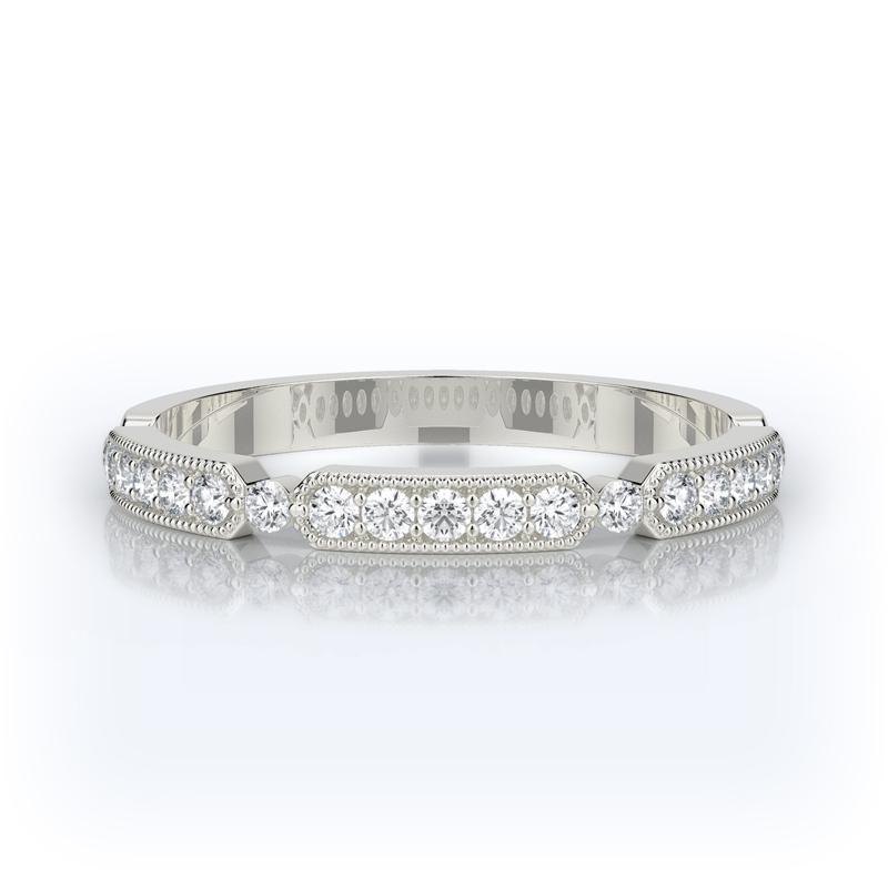 Henry Daussi 14 Karat White Gold Diamond Wedding Band