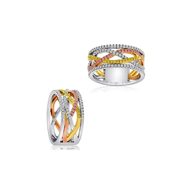 14 Karat Tri Color Fancy Yellow, Fancy Pink, and White Diamond Band