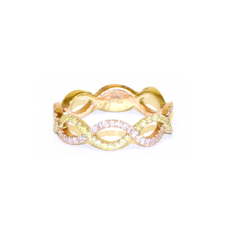 14 Karat Yellow and Rose Gold Fancy Yellow and Fancy Pink Diamond Infinity Band
