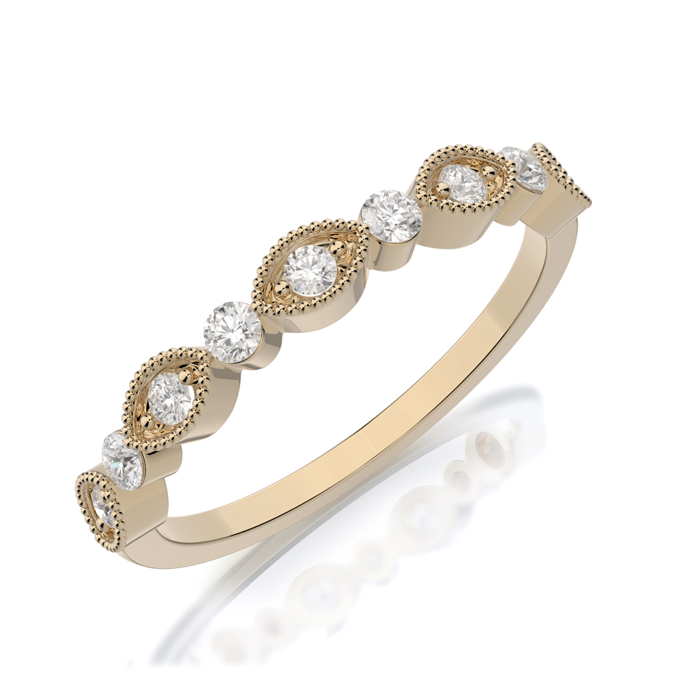 Henry Daussi 18 Karat Yellow Gold Diamond Wedding Band