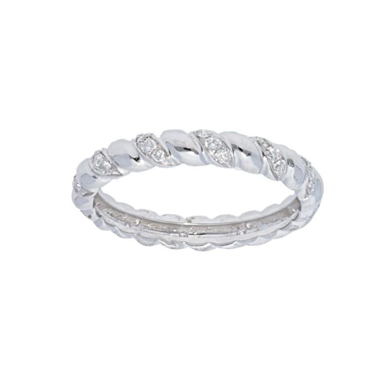 Beny Sofer 14 Karat White Gold Diamond Twist Band with Sizing Bar