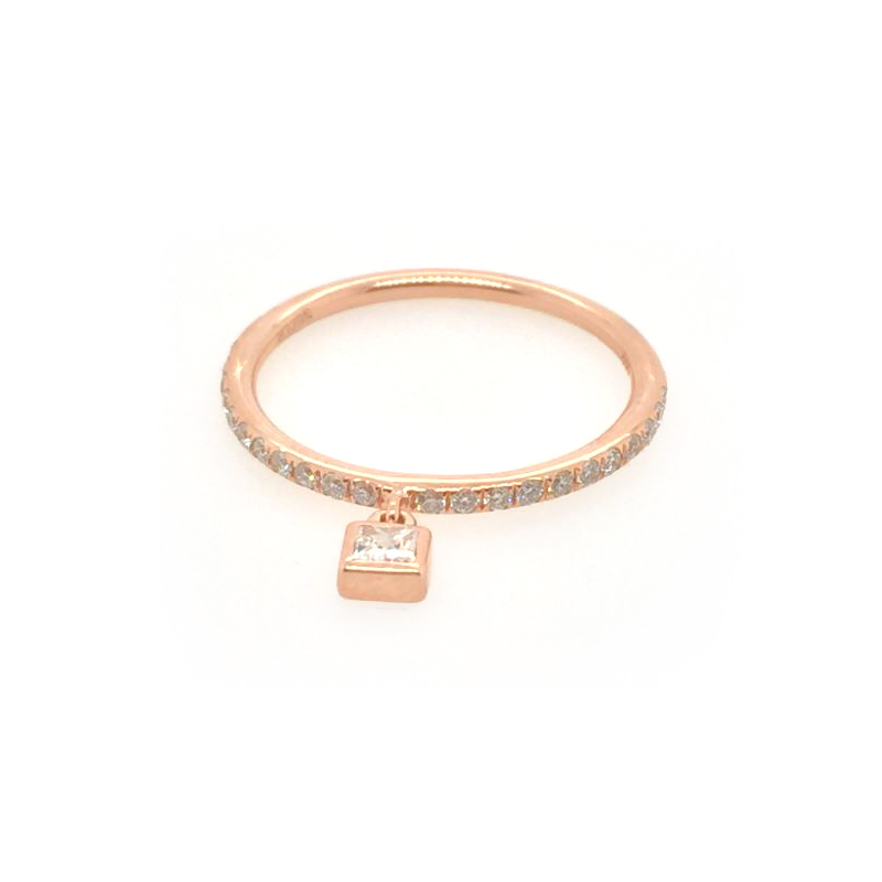Beny Sofer 14 Karat Rose Gold Diamond Band with Dangle