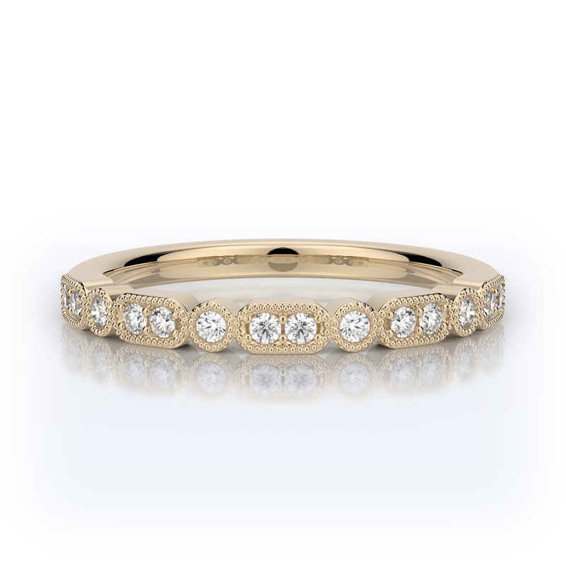 Henry Daussi 14 Karat Yellow Gold Diamond Wedding Band
