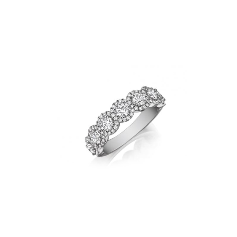 Henry Daussi 18 Karat White Gold Circle Diamond Band