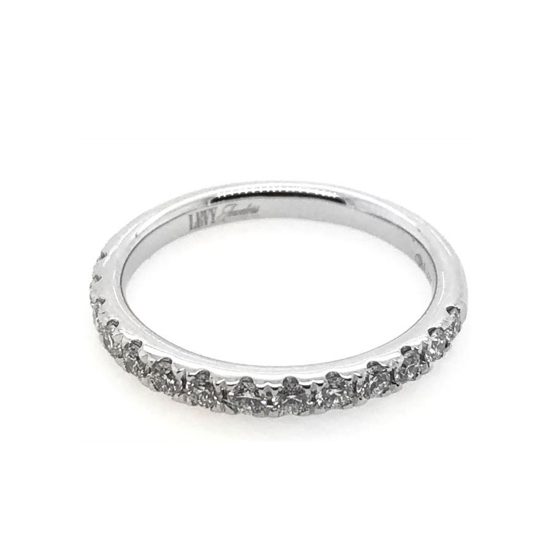14 Karat white gold and diamond wedding bad.