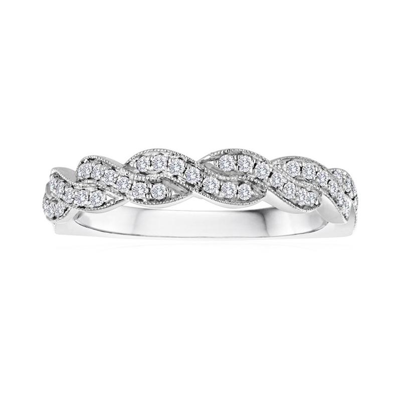 14 Karat white gold and diamond wedding band.