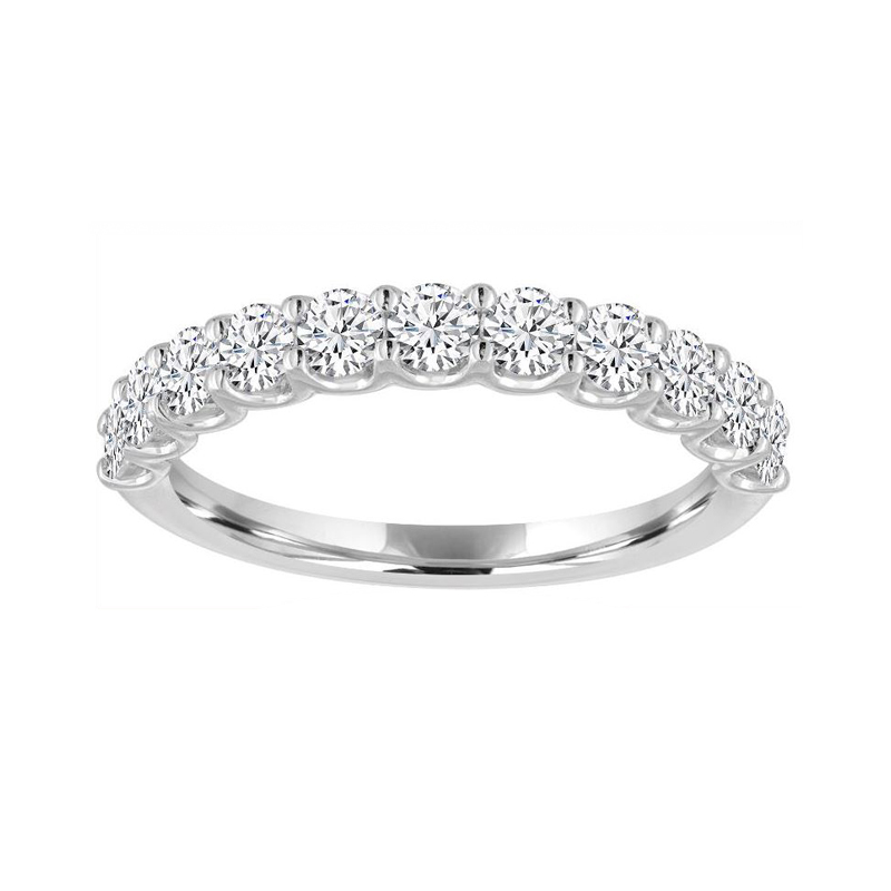 14 Karat white gold and diamond wedding band.