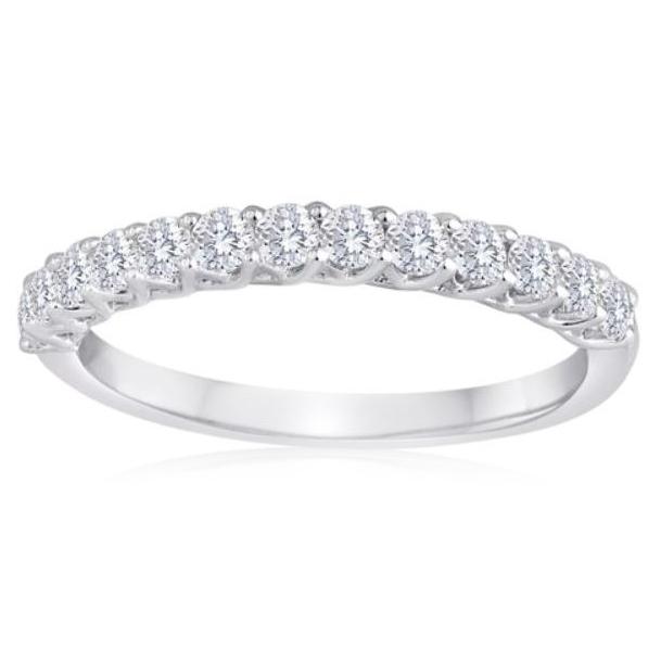 Lady's 14 Karat White Gold Diamond Wedding Band