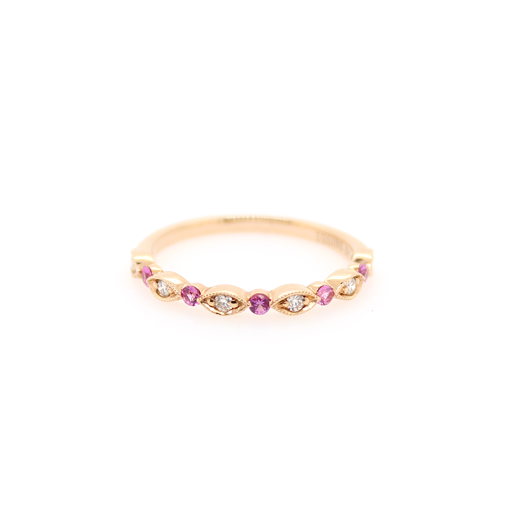Henry Daussi 18 Karat Rose Gold Diamond and Pink Sapphire Wedding Band
