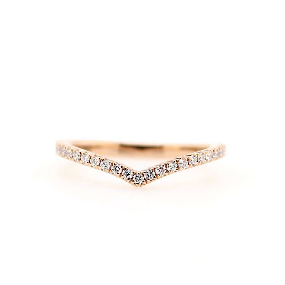 Henry Daussi 14 Karat Rose Gold Curved Diamond Band