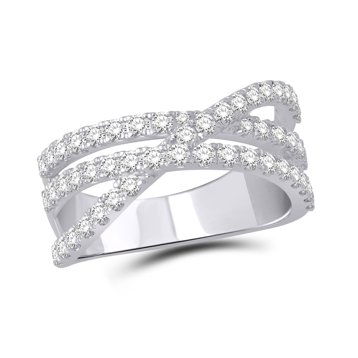 Paramount Gems 18 Karat White Gold Crossover Diamond Band