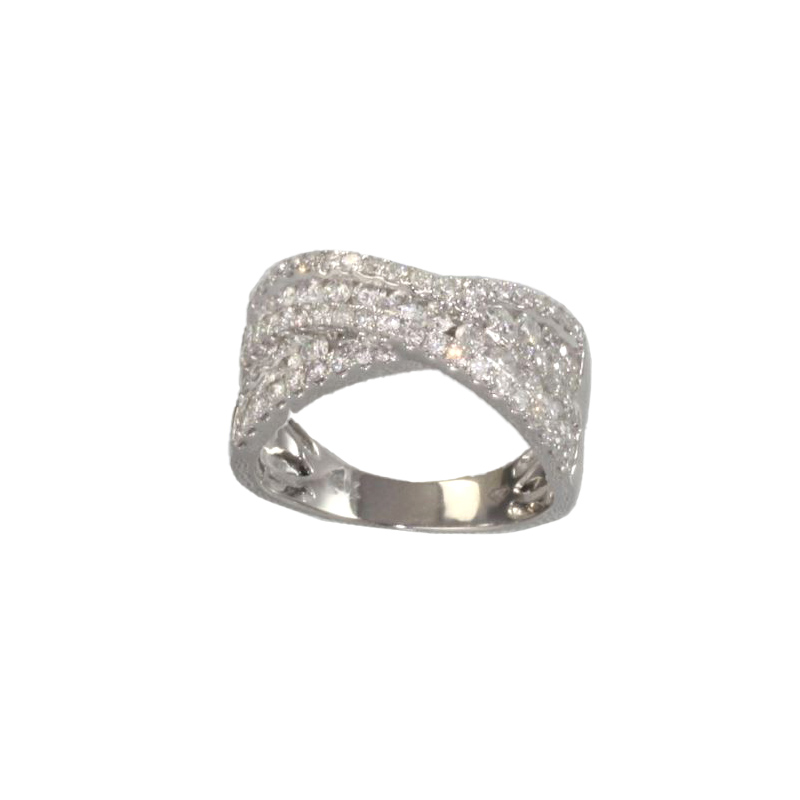 Paramount Gems 18 Karat White Gold Diamond Crossover Band