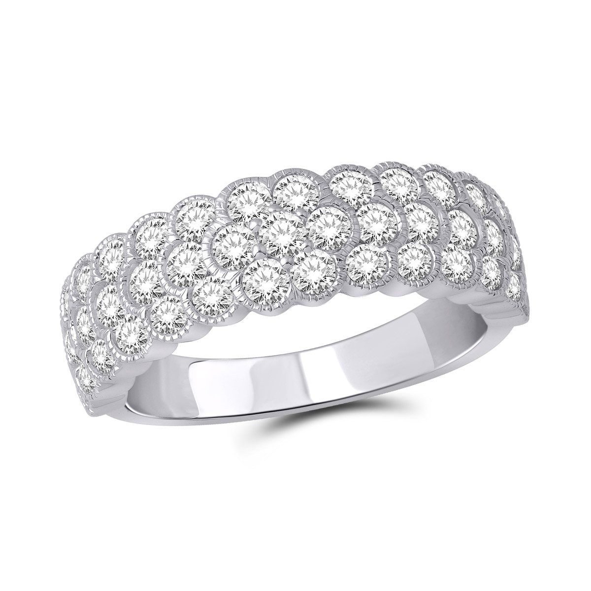 Paramount Gems 18 Karat White Gold Pave Diamond Band