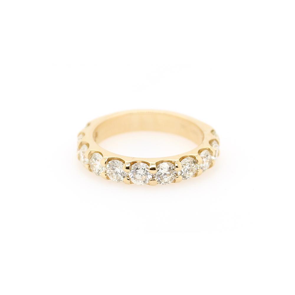 Shefi Diamonds 14 Karat Yellow Gold 11 Round Brilliant Diamond Wedding Band (2 Carat)