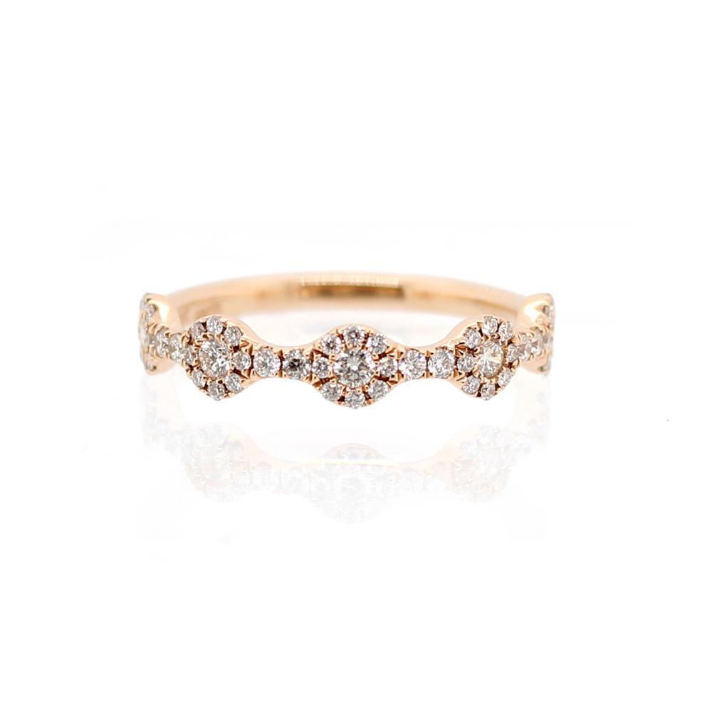 Beny Sofer 14 Karat Rose Gold Blooming Flower Diamond Ring