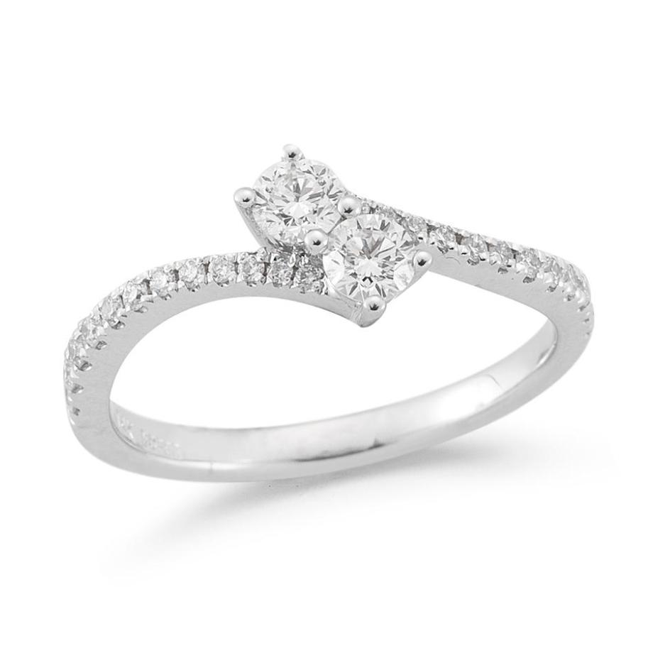 Beny Sofer 14 Karat White Gold Bypass Round Brilliant Diamond Ring
