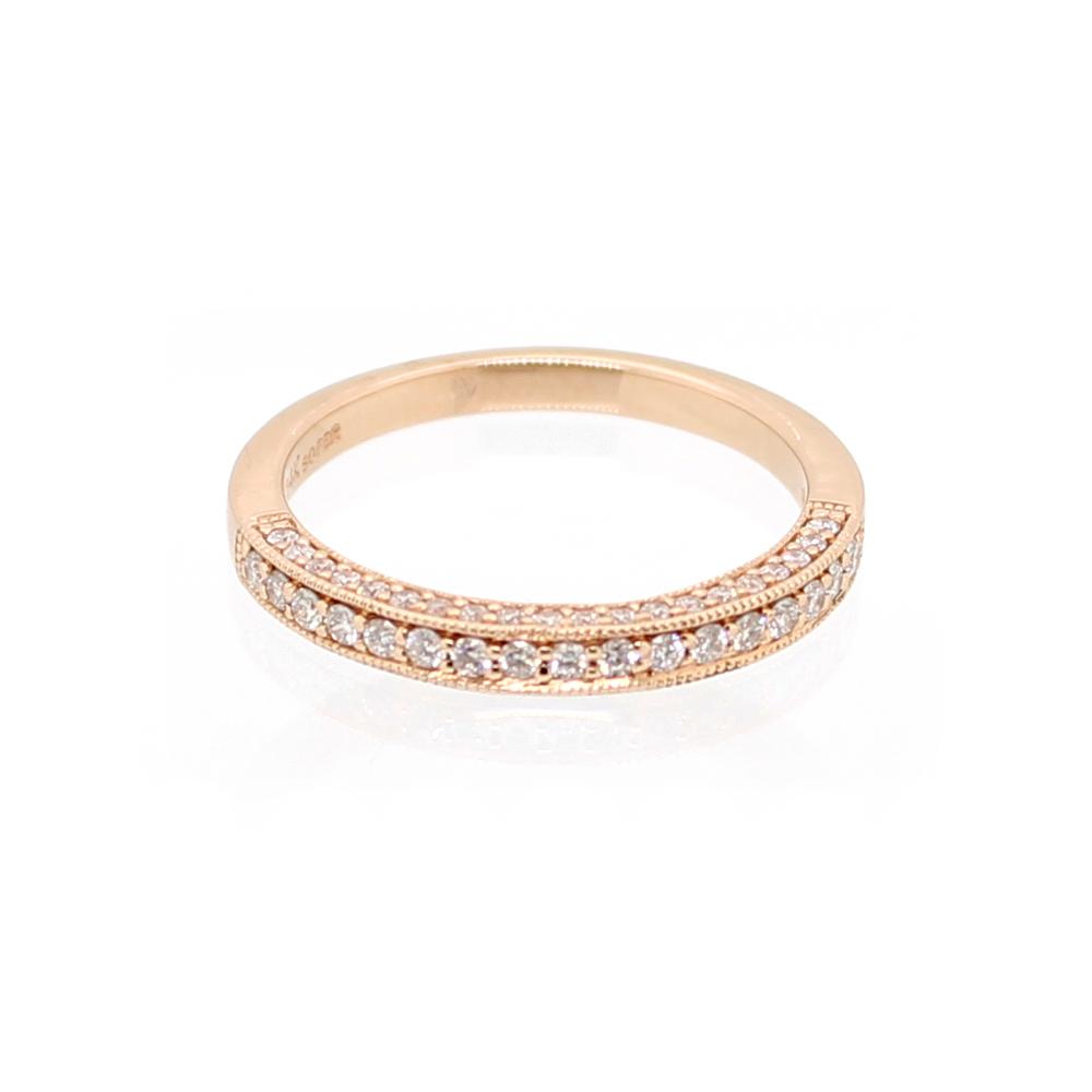 Beny Sofer 14 Karat Rose Gold Three Sided Diamond Wedding Band