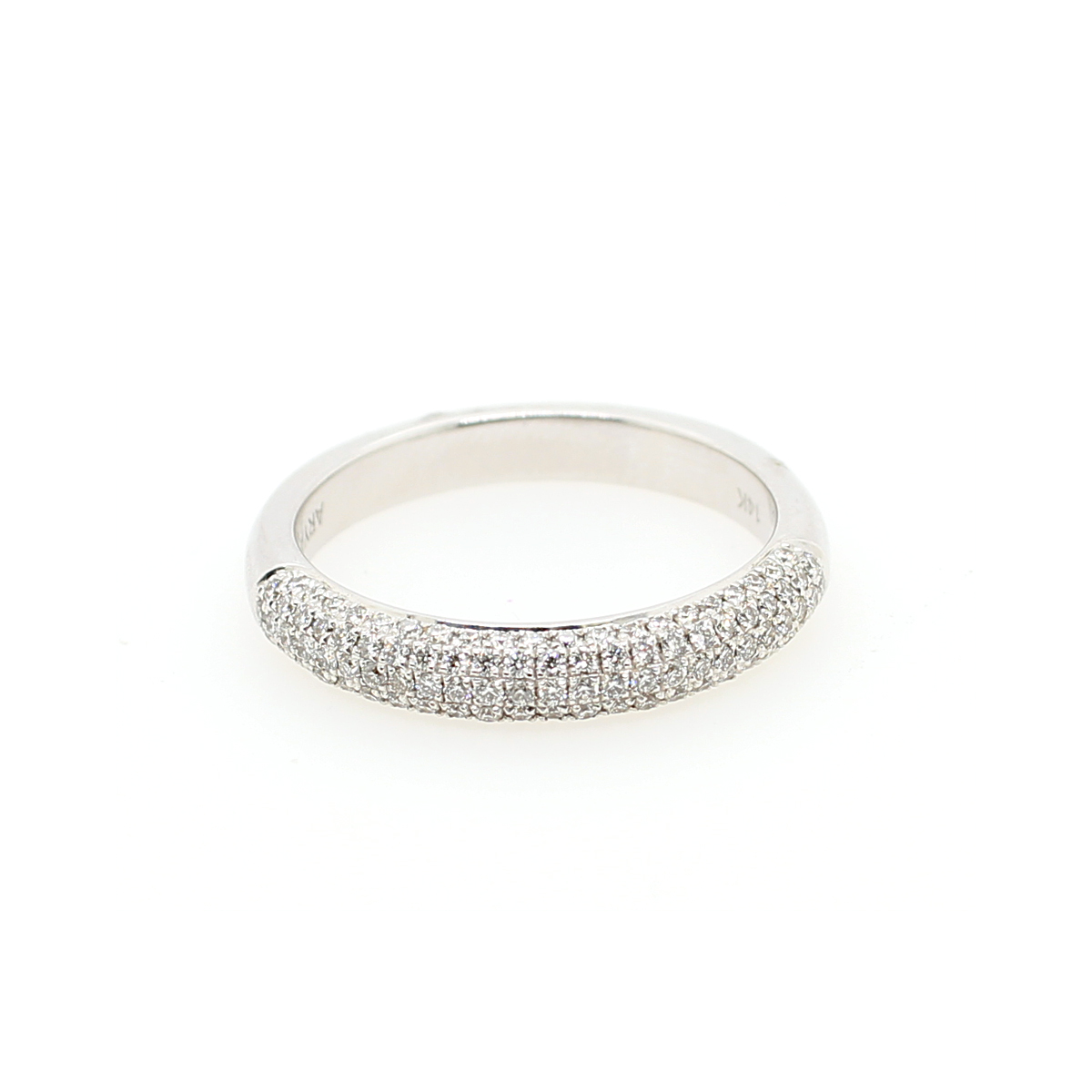 14 Karat White Gold Micro Pave Diamond Band