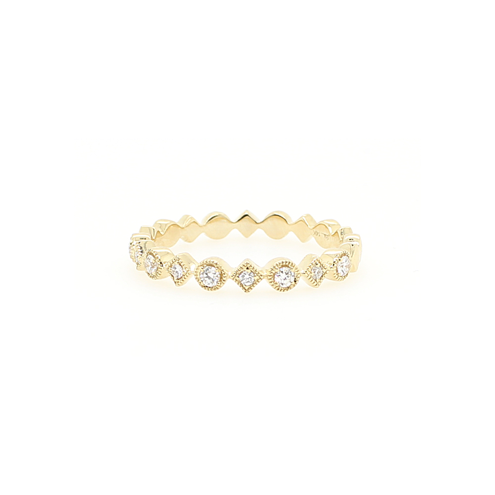 14 Karat Yellow Gold Square and Round Diamond Band