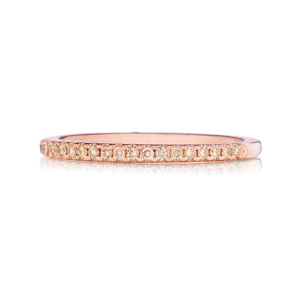 Henri Daussi 14 Karat Rose Gold Fancy Brown Diamond Wedding Band