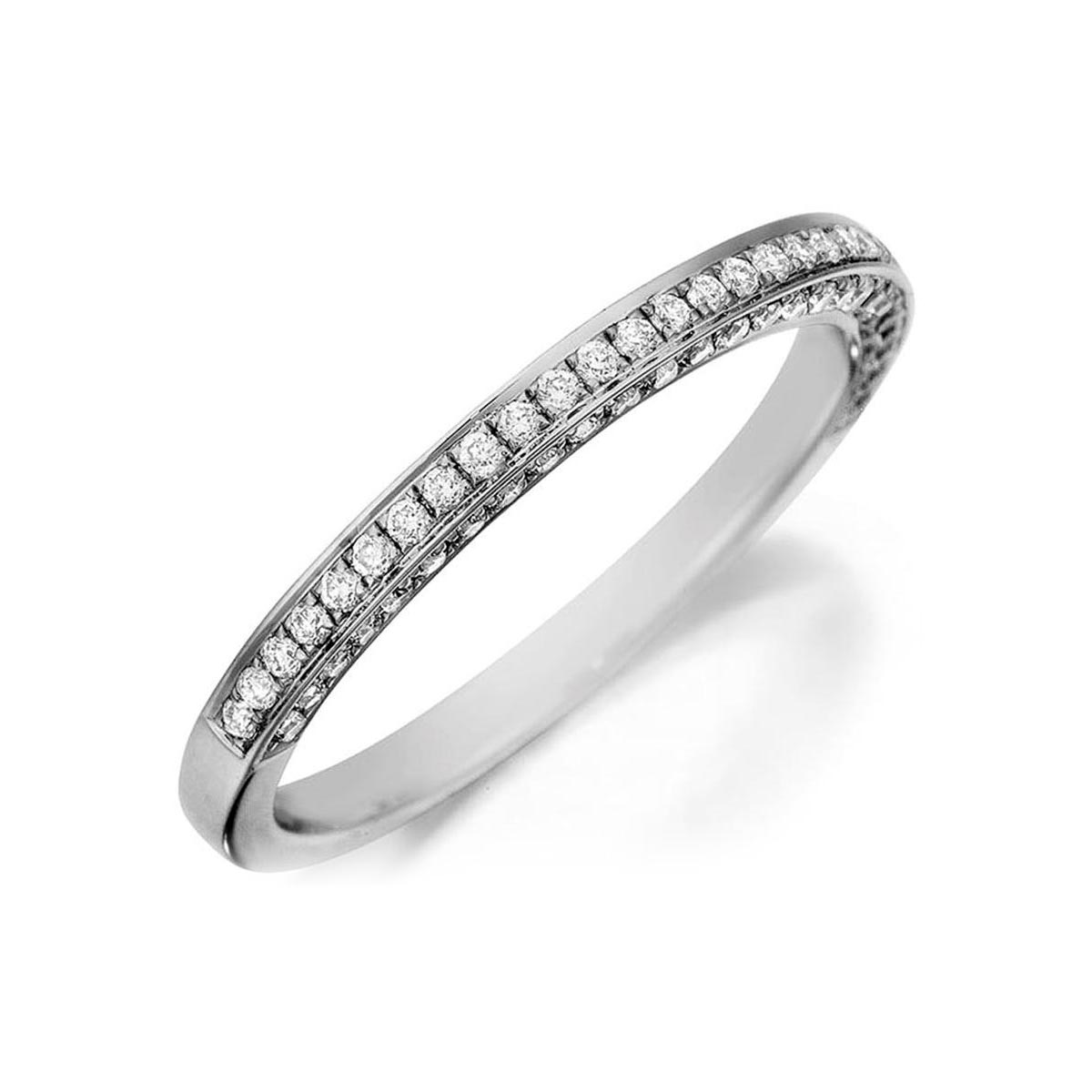Henri Daussi 14 Karat White Gold Three Sided Diamond Wedding Band