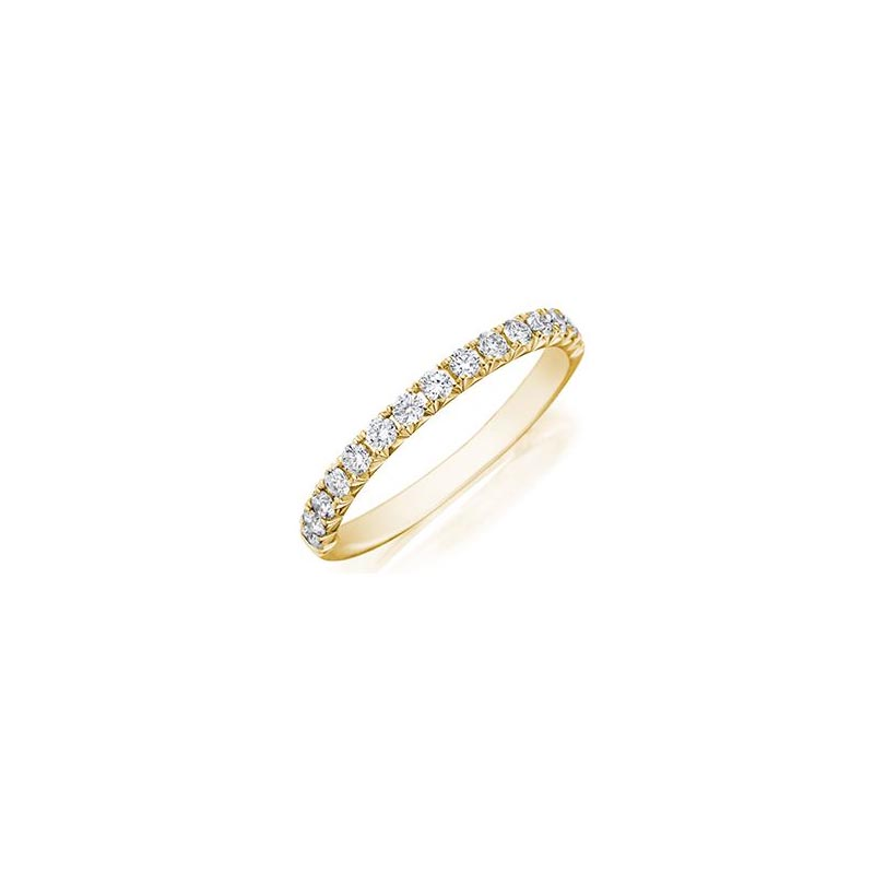 Henri Daussi 18 Karat Yellow Gold Diamond Wedding Band