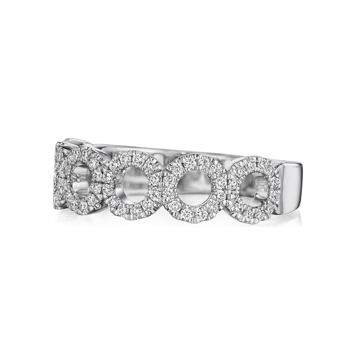 Henri Daussi 18 Karat White Gold Round Cutout Diamond Wedding band