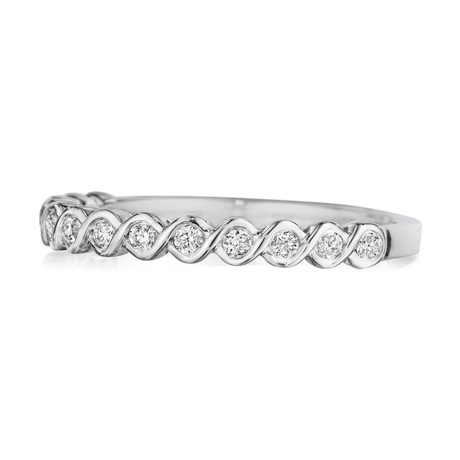 Henri Daussi 14 Karat White Gold Diamond Wedding Band