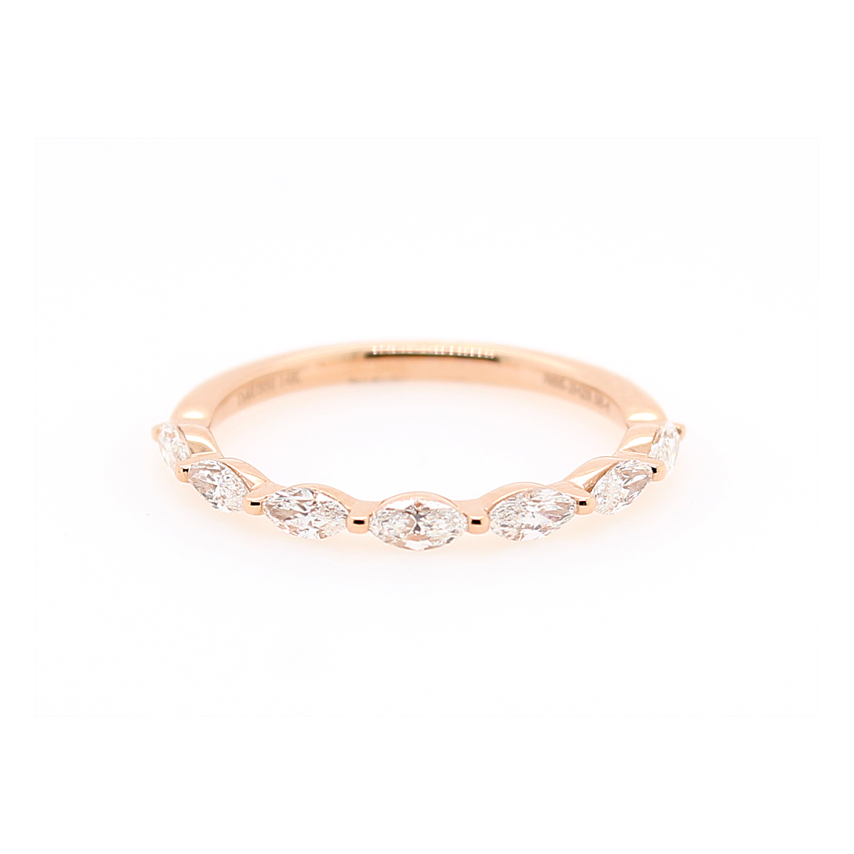 Henri Daussi 14 Karat Rose Gold Marquise Diamond Wedding band