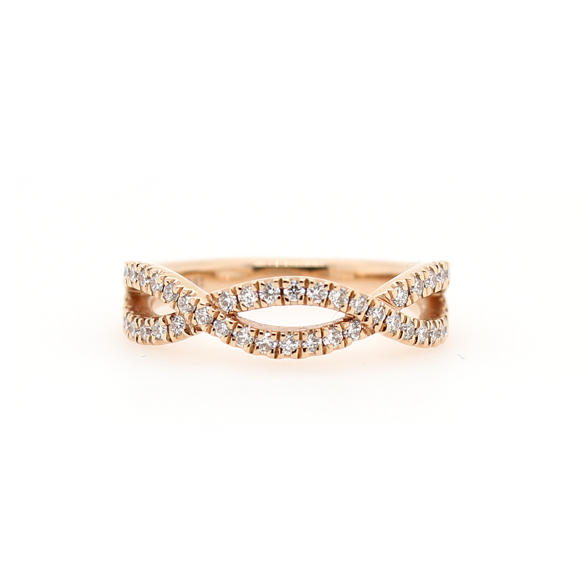 Henri Daussi 14 Karat Rose Gold Infinity Twist Diamond Wedding Band