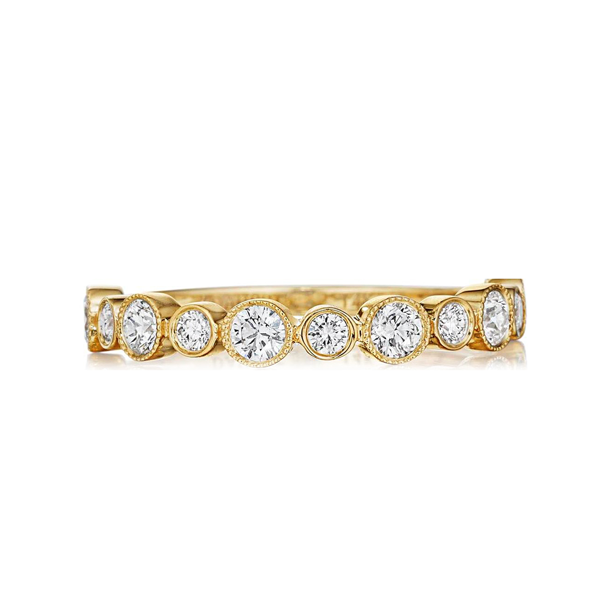 Henri Daussi 14 Karat Yellow Gold Diamond Halfway Band