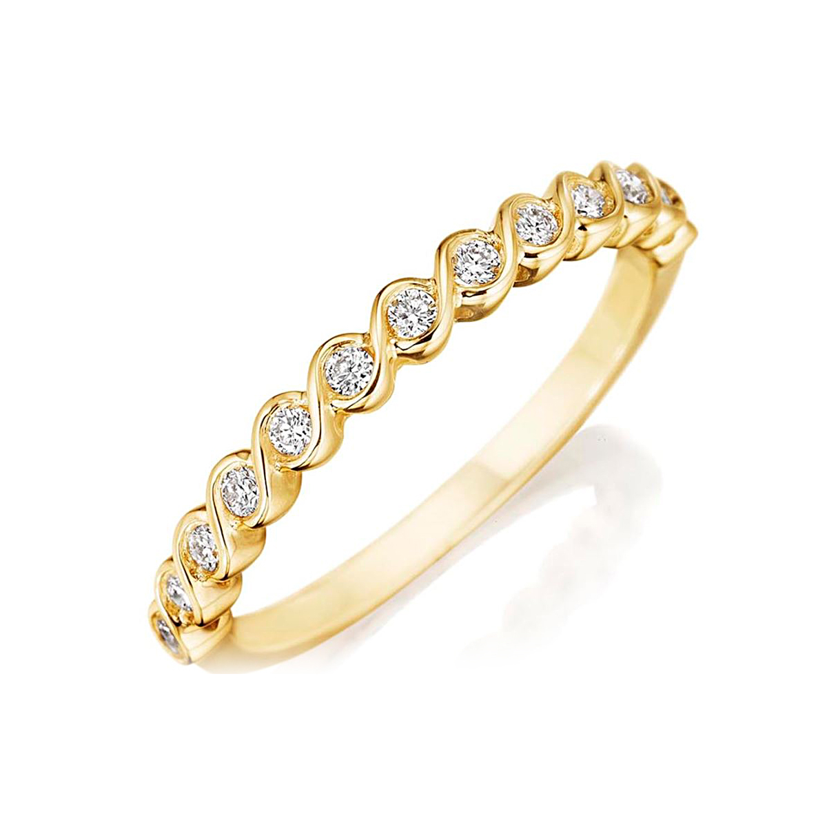 Henri Daussi 14 Karat Yellow Gold Diamond Wedding Band