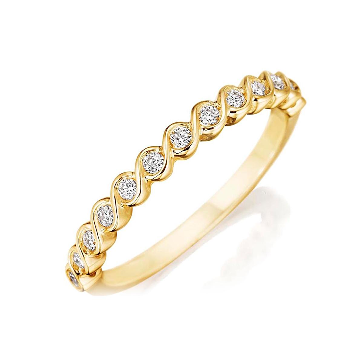 Henri Daussi 14 Karat Yellow Gold Diamond Wedding Band