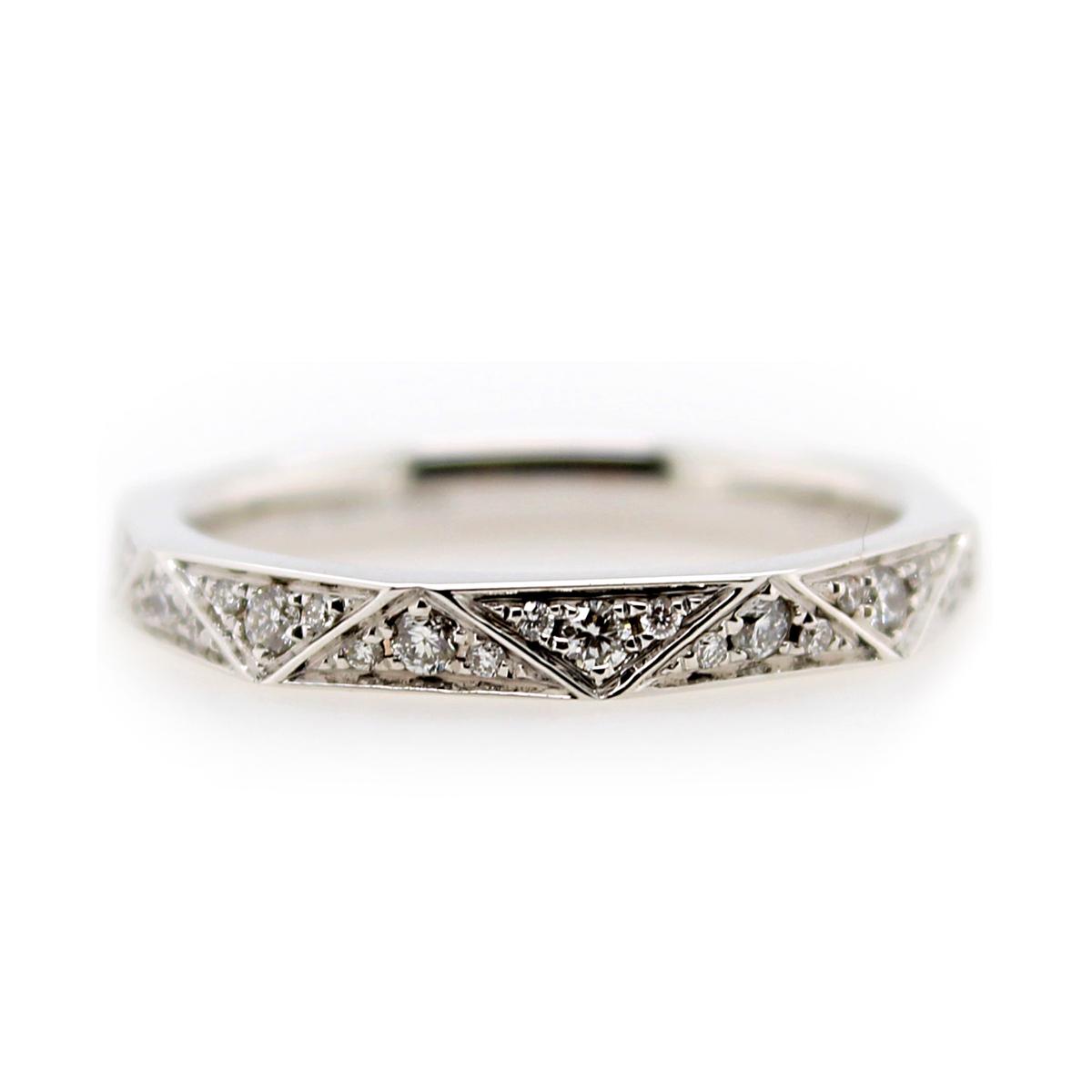 Henri Daussi 14 Karat White Gold Diamond Prismatic Wedding Band