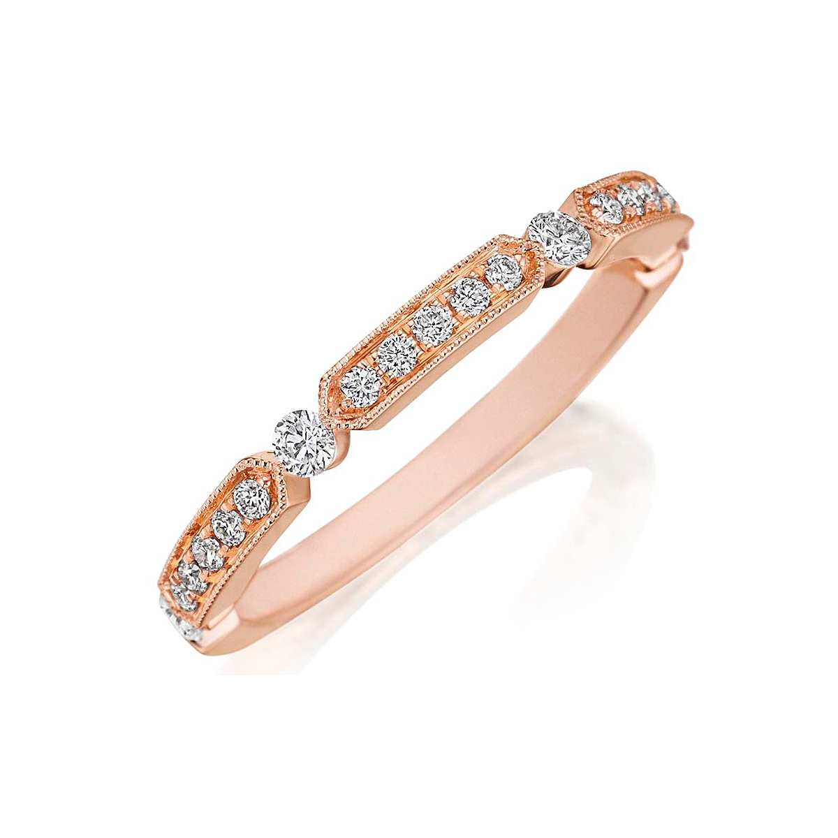Henri Daussi 14 Karat Rose Gold Diamond Wedding Band