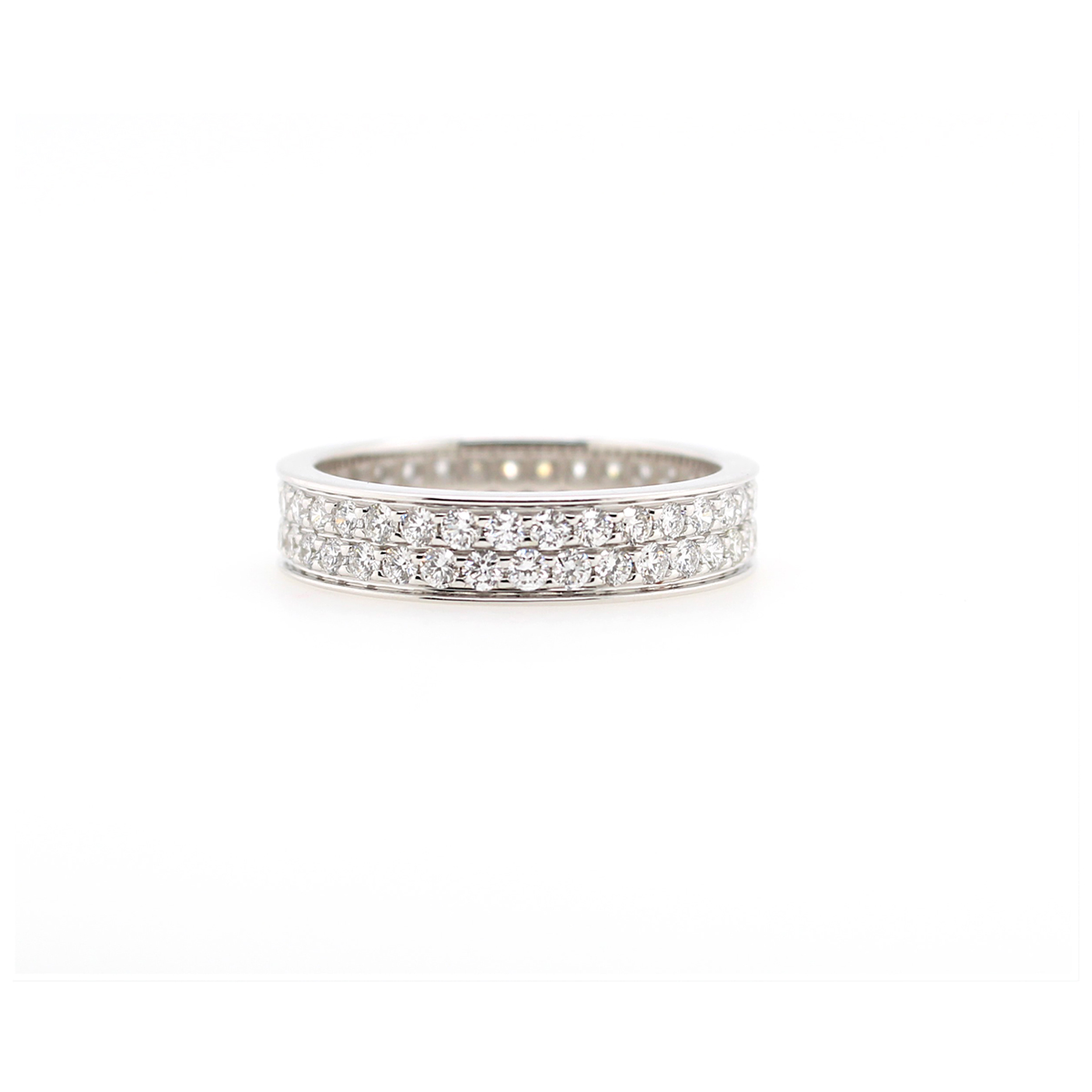 18 Karat White Gold Two Row Diamond Eternity Band
