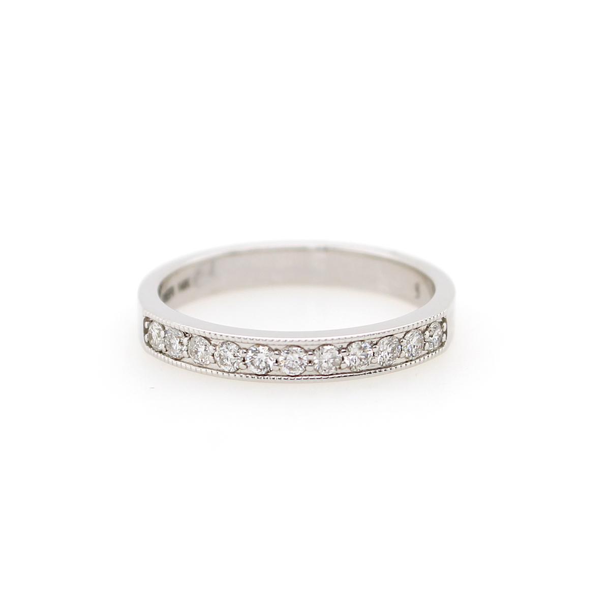 Shefi Diamonds 14 Karat White Gold .33 Carat Millgrain Edge Wedding Band