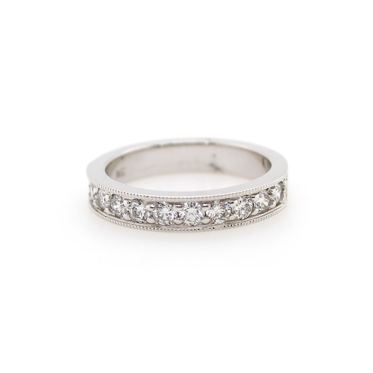 Shefi Diamonds 14 Karat White Gold .75 Carat Millgrain Edge Wedding Band